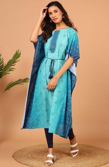 Janasya | Janasya Women's Blue Poly Georgette Kaftan