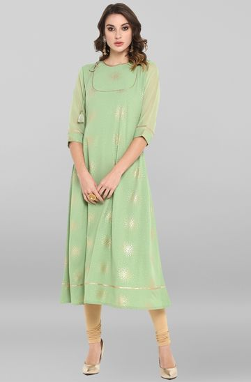 Janasya | Janasya Women's Light Green Poly Crepe Kurta