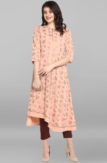 Janasya | Janasya Women's Light Pink Poly Crepe Kurta