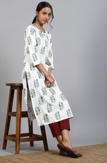 Janasya | Janasya Women's Off White Cotton Kurta