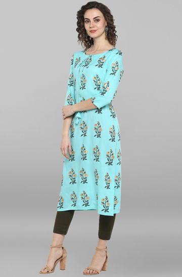 Janasya | Janasya Women's Turquoise Green Cotton Kurta