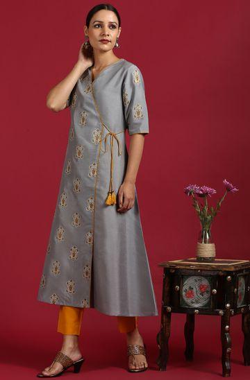 Janasya | Janasya Women's Grey Poly Silk Kurta