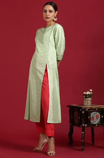 Janasya | Janasya Women's Light Green Poly Silk Kurta