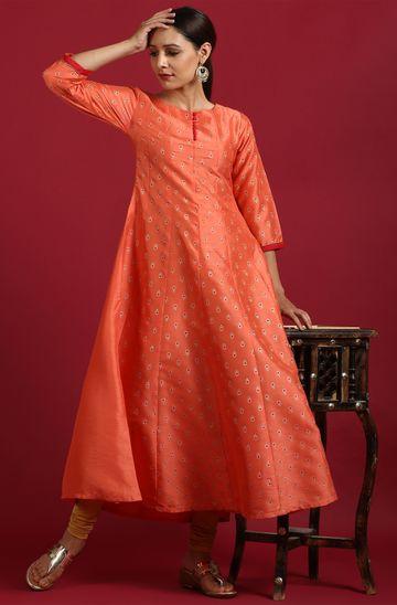 Janasya | Janasya Women's Peach Poly Silk Kurta