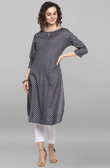 Janasya | Janasya Women's Grey Rayon Kurta