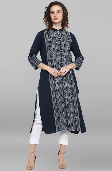 Janasya | Janasya Women's Blue Cotton Flex Kurta