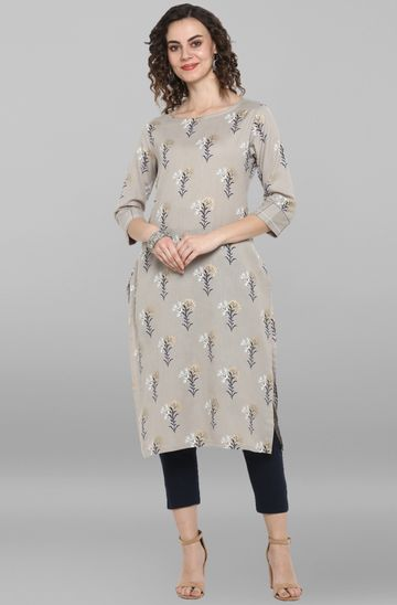 Janasya | Janasya Women's Grey Cotton Flex Kurta