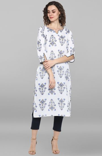 Janasya | Janasya Women's White Cotton Kurta