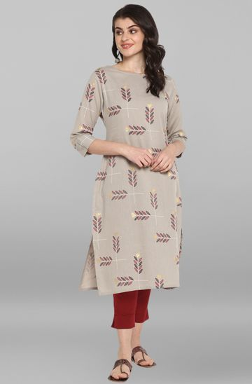 Janasya | Janasya Women's Grey Cotton Kurta