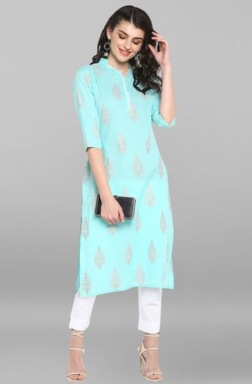 Janasya | Janasya Women's Teal Cotton Kurta