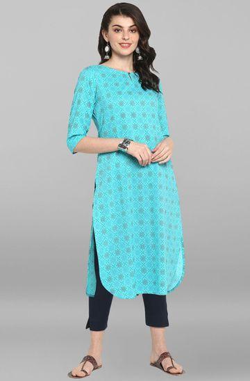 Janasya   Janasya Women's Turquoise Cotton Kurta