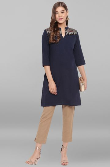 Janasya | Janasya Women's Navy Blue Cotton Flex Kurti