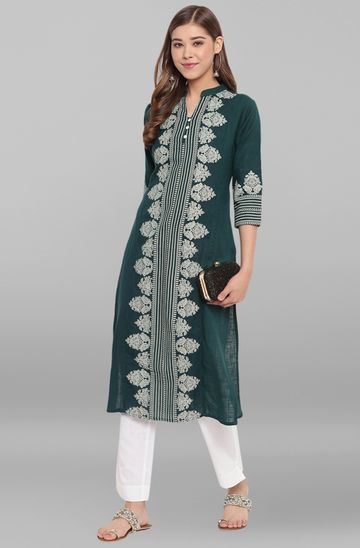 Janasya | Janasya Women's Green Cotton Flex Kurta