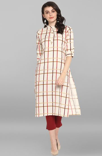 Janasya | Janasya Women's Cream Cotton Flex Kurta