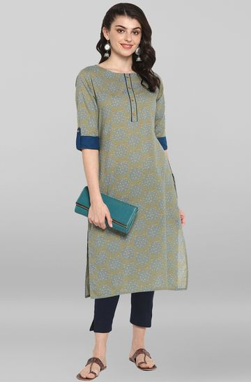 Janasya | Janasya Women's Green Cotton Kurta