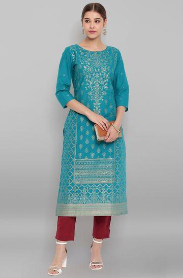 Janasya   Janasya Women's Turquoise Blue Cotton Kurta