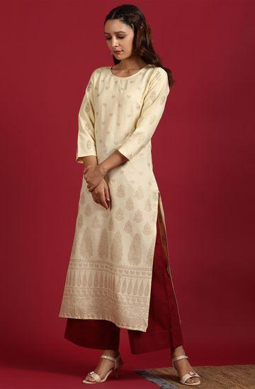 Janasya | Janasya Women's Yellow Rayon Kurta