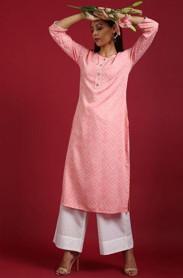 Janasya | Janasya Women's Baby Pink Rayon Kurta