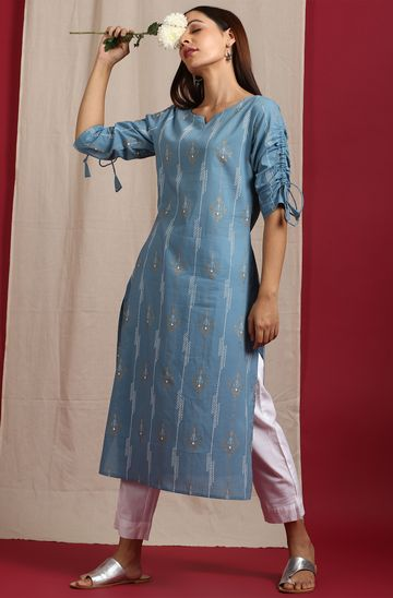 Janasya | Janasya Women's Blue Cotton Kurta