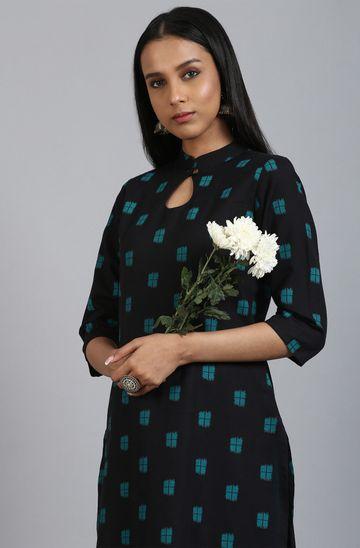 Janasya | Janasya Women's Black Cotton Flex Kurta