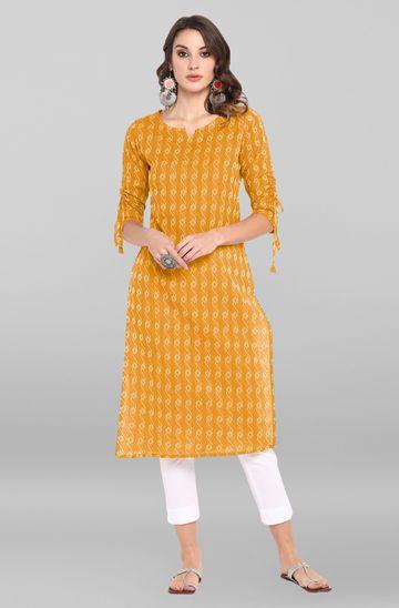 Janasya | Janasya Women's Yellow Cotton Kurta