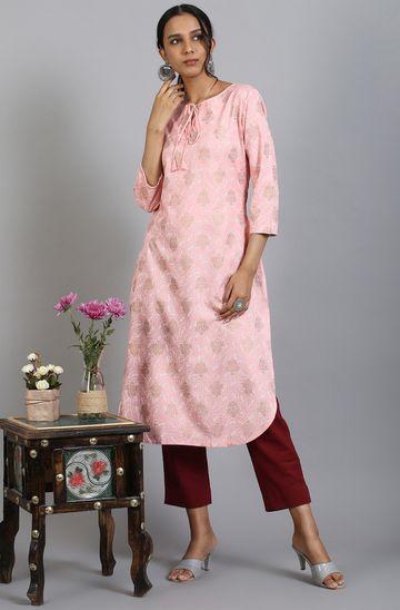 Janasya | Janasya Women's Light Pink Rayon Kurta