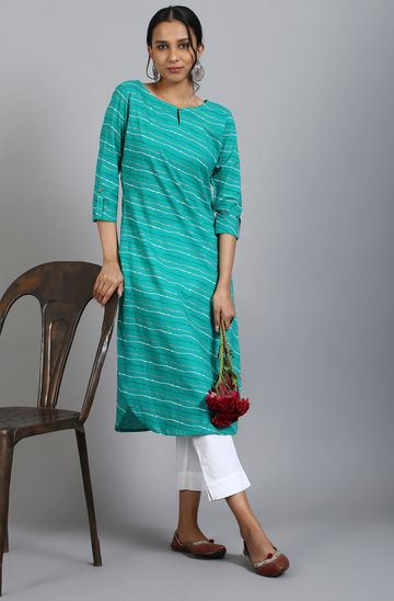Janasya | Janasya Women's Sea Green Cotton Kurta