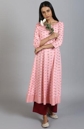 Janasya | Janasya Women's Pink Rayon Slub Kurta