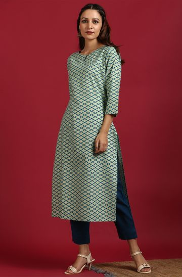 Janasya | Janasya Women's Light Green Cotton Kurta
