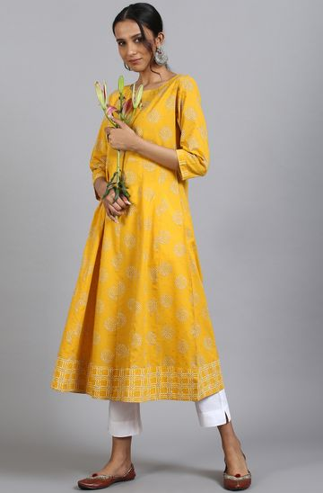 Janasya   Janasya Women's Yellow Cotton Kurta