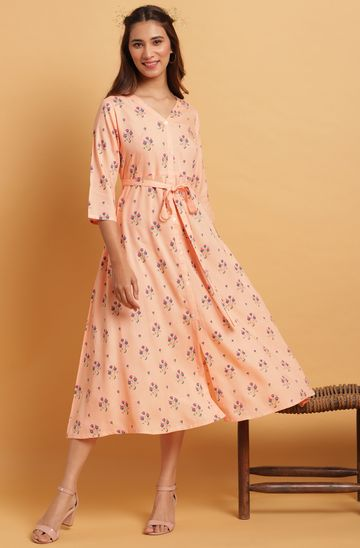 Janasya   Janasya Women's Peach Rayon Western Dress