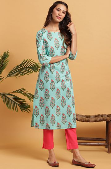 Janasya | Janasya Women's Turquoise Blue Cotton Kurta