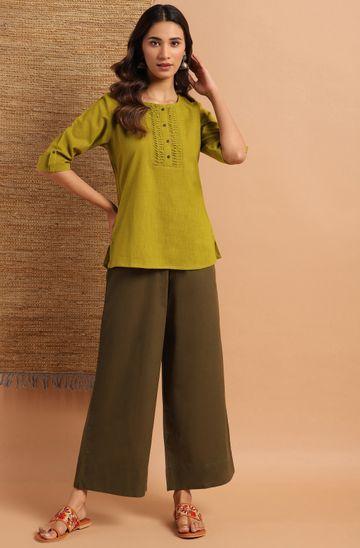 Janasya   Janasya Women's Green Cotton Slub Top