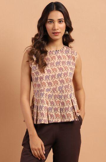 Janasya   Janasya Women's Peach Cotton Top