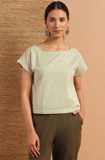 Janasya | Janasya Women's Cream Cotton Flex Top
