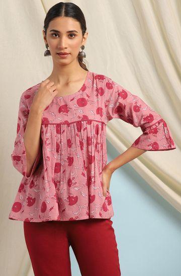 Janasya | Janasya Women's Pink Cotton Top