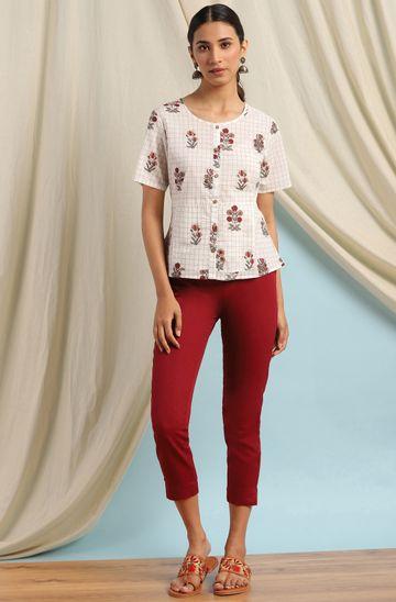 Janasya | Janasya Women's Off White Cotton Top