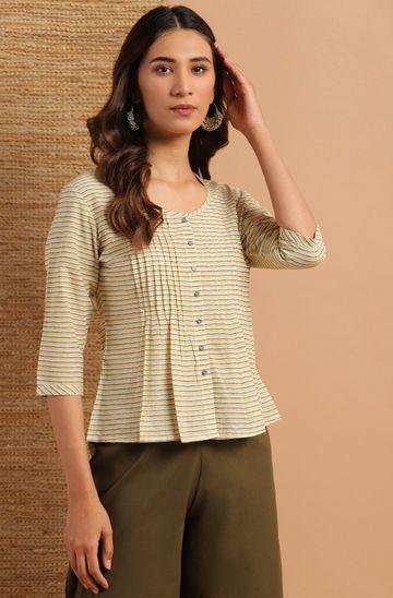 Janasya | Janasya Women's Cream Cotton Top