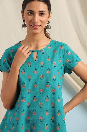 Janasya | Janasya Women's Teal Cotton Slub Top