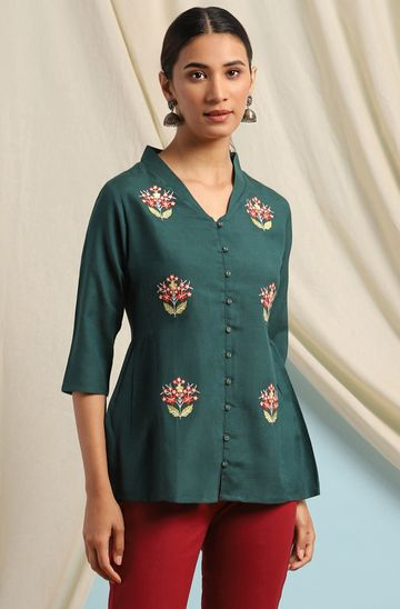 Janasya   Janasya Women's Green Viscose Blend Top