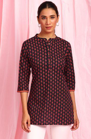 Janasya   Janasya Women's Black Cotton Tunic