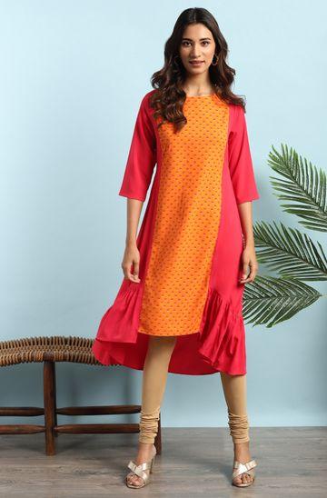 Janasya | Janasya Women's Orange Poly Crepe Kurta