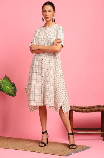 Janasya   Janasya Women's Cream Cotton Flex Western Dress