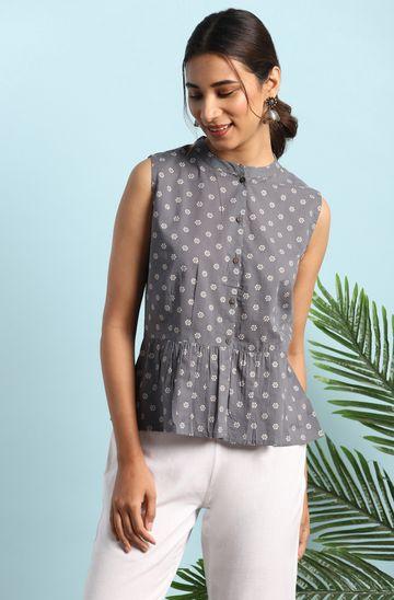 Janasya   Janasya Women's Grey Cotton Top