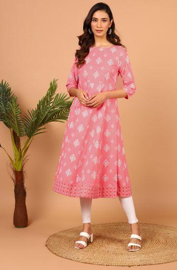 Janasya | Janasya Women's Pink Cotton Kurta