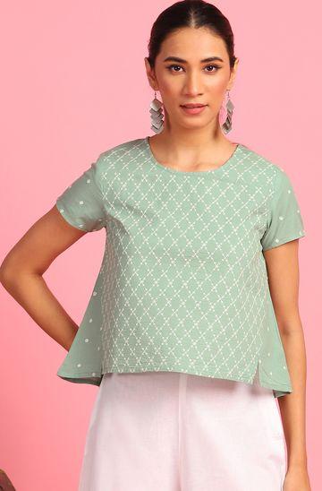 Janasya | Janasya Women's Light Green Cotton Top