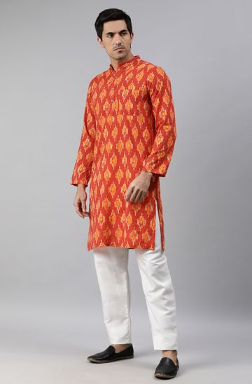 Janasya | Janasya Men's Orange Cotton Kurta