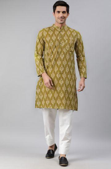 Janasya | Janasya Men's Green Cotton Kurta