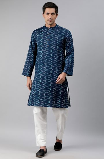 Janasya | Janasya Men's Blue Cotton Flex Kurta