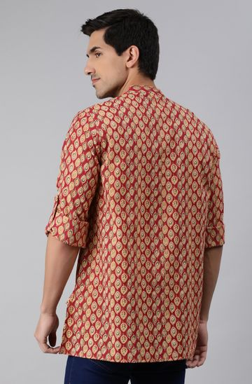 Janasya | Janasya Men's Red Cotton Kurta